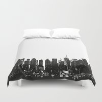 wwe Duvet Covers featuring New York black and white high quality art print by eARTh