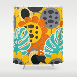 Sunflowers and leaves Shower Curtain