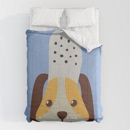 cute doggo with croc on the head - lightblue Comforters