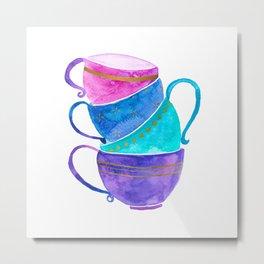 Stacked teacups Metal Print