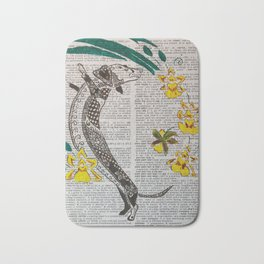 In The Year of the Earth Dog ( Dachshund and Orchids ) Bath Mat