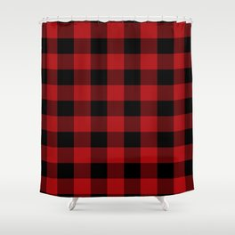 Red & Black Buffalo Plaid Shower Curtain