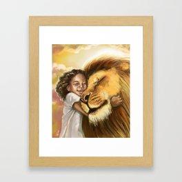 Lion's Kiss Framed Art Print