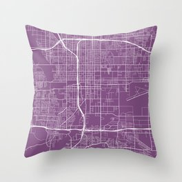 San Bernardino Map, USA - Purple Throw Pillow