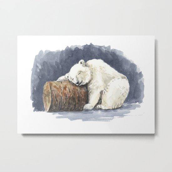 Sleeping polar bear, watercolor art Metal Print
