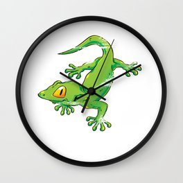 Green Color Gecko Wall Clock