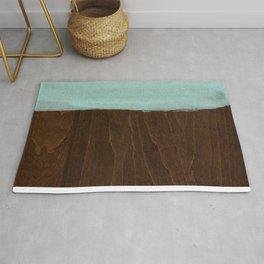 Seafoam Blue Paint on Wood Rug