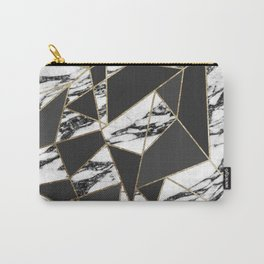 Chic Modern Gold Marble and Black Geometric Carry-All Pouch