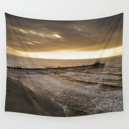 Folly Beach Pier in Gold Wall Tapestry