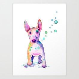 Terrier Bubbles Art Print
