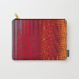 Warm red & turquoise Floor Pattern Art Carry-All Pouch