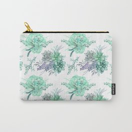 Succulents Mint Green Lavender Lilac Violet Pattern Carry-All Pouch