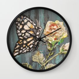 Butterfly on Rose Wall Clock
