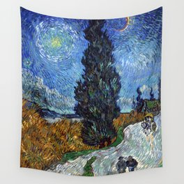Vincent van Gogh - Road with Cypress and Star Wall Tapestry