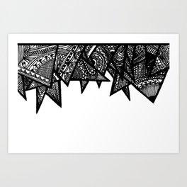 Triangle Henna Print- B+W Art Print