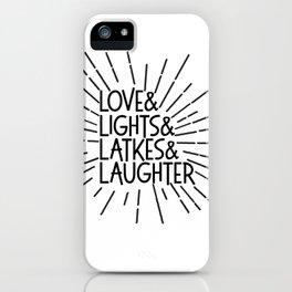 LOVE & LIGHTS & LATKES & LAUGHTER Hanukkah ampersand design iPhone Case