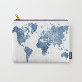 World map in watercolor blue Carry-All Pouch