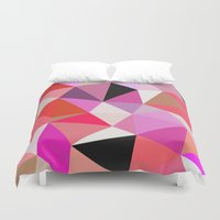 lipstick Duvet Covers featuring Lipstick Tris by Beth Thompson