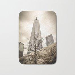 Cloudy Dark Freedom Tower NYC World Trade Center Bath Mat