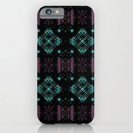 Geometric Stained Glass Blocks - Black Velvet Pattern on Turquoise & Magenta by artestreestudio iPhone Case