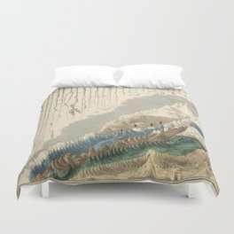 1854 Comparative Lengths of Rivers and Heights of Mountains Duvet Cover