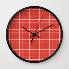 CG red - red color -  White Lines Grid Pattern Wall Clock