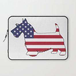 """Scottish Terrier """"American Flag"""" Laptop Sleeve"""