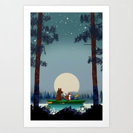 Bear and Fox kayaking on a wild forest river Art Print
