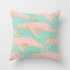 The Chevron Whales Throw Pillow