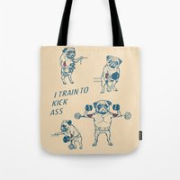 workout Tote Bags featuring Pug Workout by Huebucket