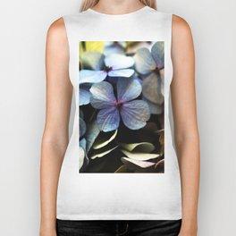 blue hydrangea flower macro Biker Tank