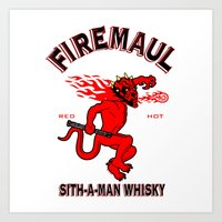whisky Art Prints featuring Firemaul Whisky by Ant Atomic
