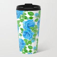 Blue roses watercolor seamless pattern Metal Travel Mug