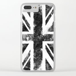 Black Grunge UK Flag Clear iPhone Case