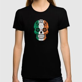 Sugar Skull with Roses and Flag of Ireland T-shirt