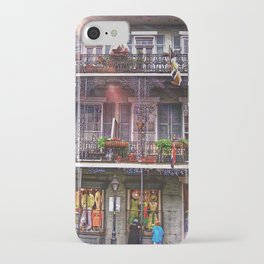 Sunny New Orleans French Quarter Nola Home with Iconic Blue Gray Architecture and Botanical Greenery iPhone Case