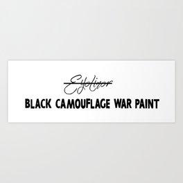 Black Camouflage War Paint Art Print