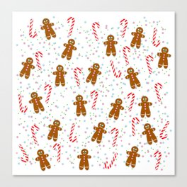 Gingerbread man wishes you Merry Xmas! - White Canvas Print