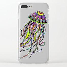 Electric Jellyfish Clear iPhone Case