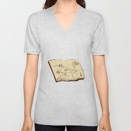 Map of Trail with X Marks The Spot Woodcut Unisex V-Neck