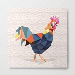 Polygonal Rooster Metal Print