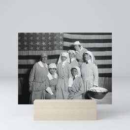 Red Cross Workers With US Flag - Paris - 1919 Mini Art Print