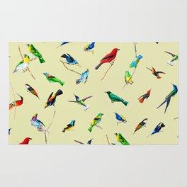 Yellow Birds Motif Seamless Pattern Rug