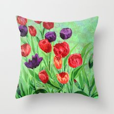 Tulips in the garden  Throw Pillow