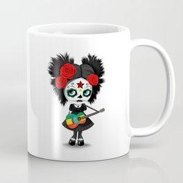 Day of the Dead Girl Playing Ethiopian Flag Guitar Coffee Mug