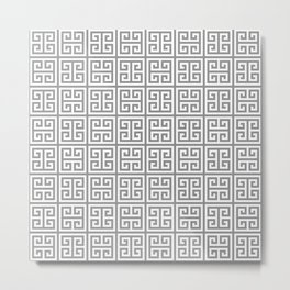 Greek Key pattern - Greek fret design , grey, white Metal Print