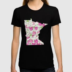 Minnesota in Flowers Black LARGE Womens Fitted Tee