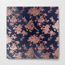 Modern elegant navy blue faux rose gold floral Metal Print