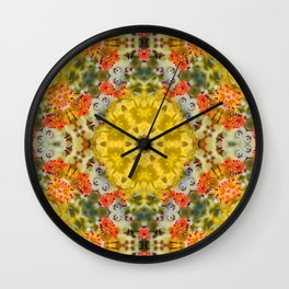 Marigold Kaleidoscope Photographic Pattern #1 Wall Clock