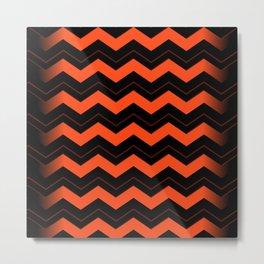 Orange and Black Chevron Metal Print